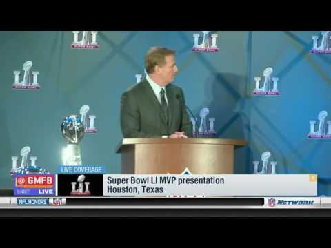Roger Goodell Hands Tom Brady Super Bowl MVP Trophy