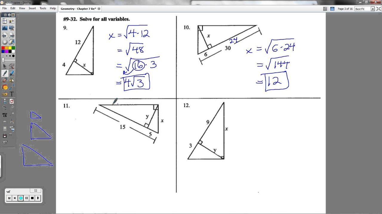 Geometry - Chapter 7 Review Packet (Special Right ...
