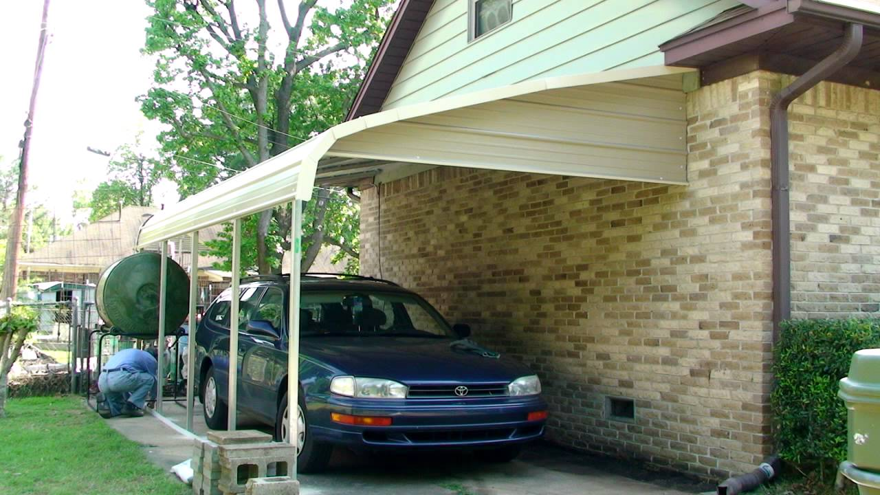 Carport installation 2012 youtube for Car lean to