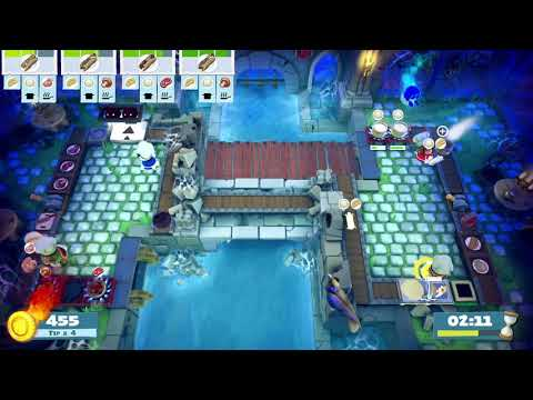 Overcooked 2 Night of the Hangry Horde Level 2-1 4 Stars 4 Player Co-op |
