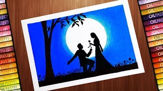 How to Draw Scenery of Moonlit Night Romantic Love With oil pastel and CD Marker