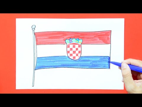 How to draw and color National Flag of Croatia