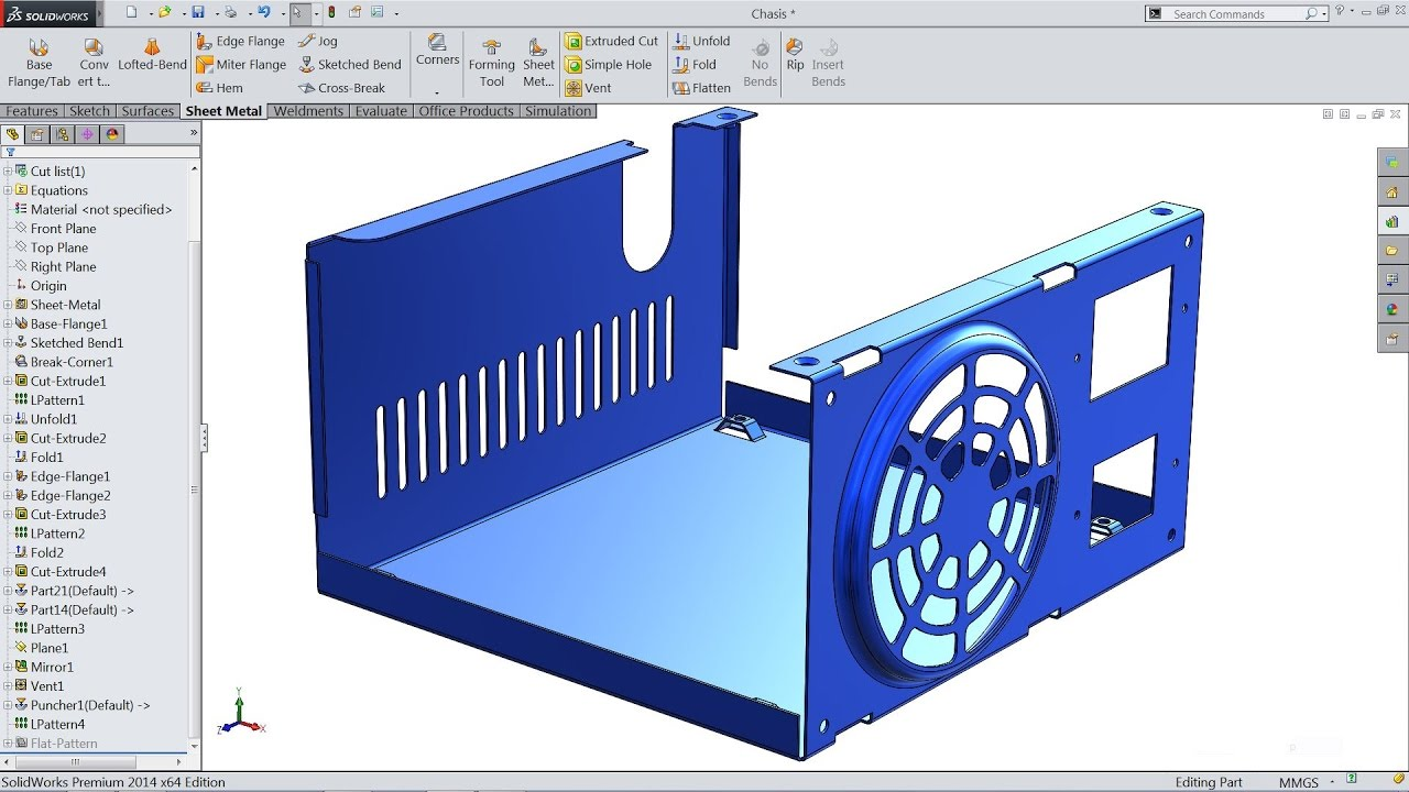 Solidworks Tutorial Sketch Power Box Chassis Sheet
