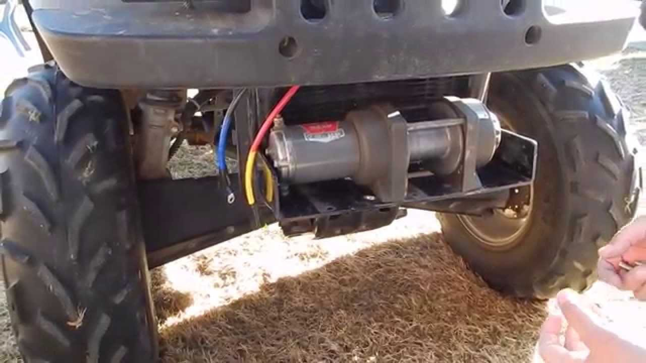 how to install a warn winch on an atv youtube atv winch solenoid wiring diagram atv winch wiring [ 1280 x 720 Pixel ]