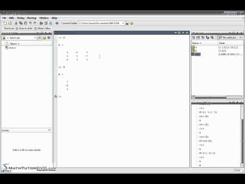 Matlab Sect 30 Matrix Determinant, Inverse, Trace, and Rank