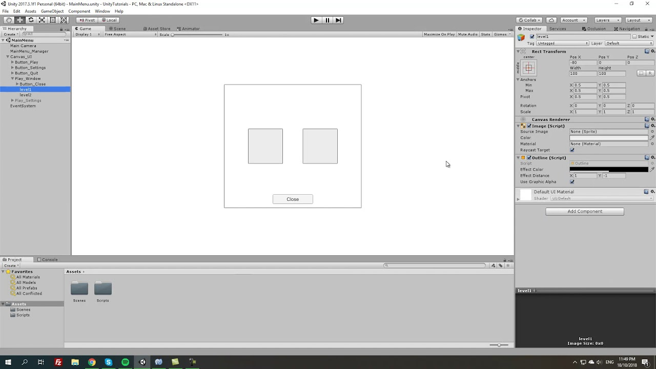 Main Menu Script - Pop Up Windows | Unity Tutorial (Unity3d/C#)