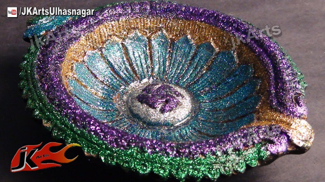 DIY How to Decorate Diwali Diya | Diwali Home Decoration Ideas | JK ... for Diya Decoration Using Glitters  569ane