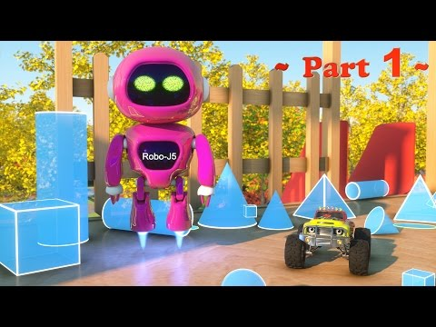 Thumbnail: Meet Robo-J5 the Robot - Learn Shapes And Race Monster Trucks - TOYS (Part 1)