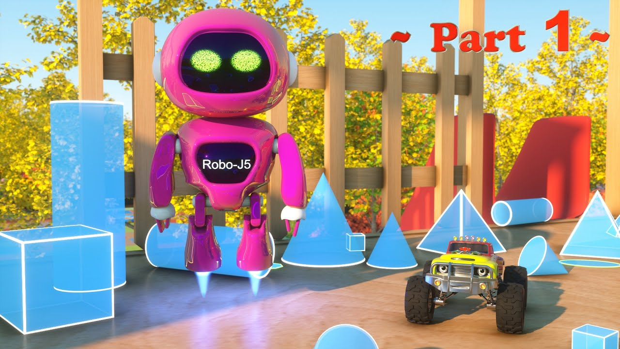 Meet Robo J5 the Robot Learn Shapes And Race Monster Trucks
