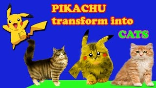 Pikachu Transforms To Cute Cat Coloring Book Video for Kids