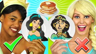 PANCAKE ART CHALLENGE WITH FROZEN 2 ELSA, BELLE, TIANA, MULAN & DISNEY PRINCESSES. TOTALLY TV Parody