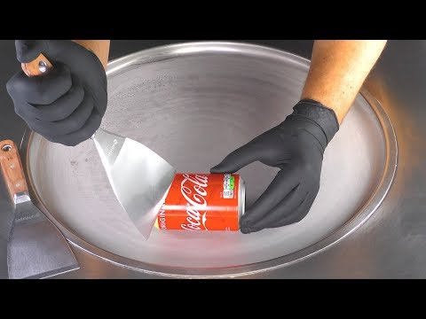 ASMR – Coca-Cola Ice Cream Rolls | how to make Vanilla Coke Ice Cream – tapping scratching eating 4k
