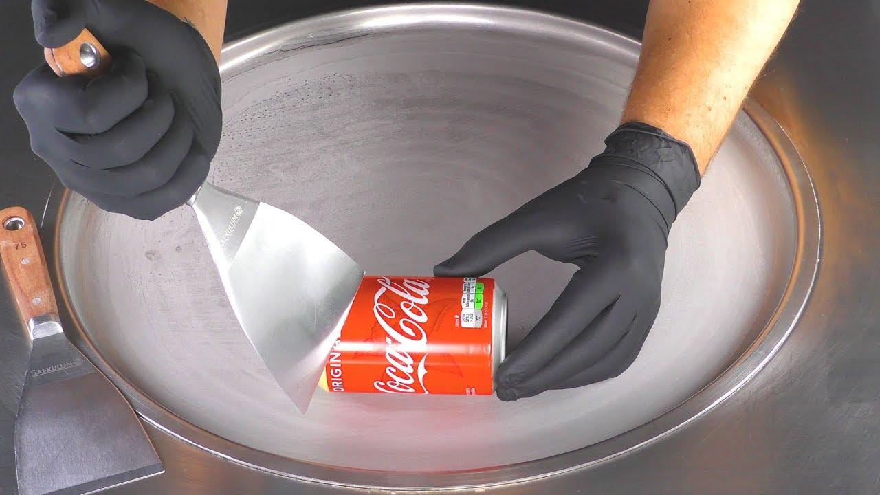ASMR - Coca-Cola Ice Cream Rolls | how to make Vanilla Coke Ice Cream - tapping scratching eating 4k