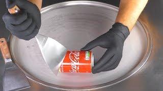 ASMR - Coca-Cola Ice Cream Rolls   how to make Vanilla Coke Ice Cream - tapping scratching eating 4k