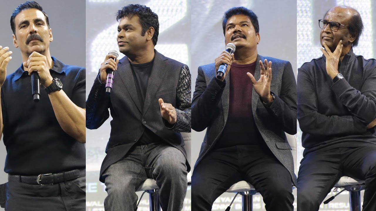 2.0 Launch | Rajini, Shankar, Rahman & Akshay\'s interaction - Full ...