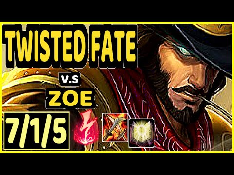 DOPA (APDO) (TWISTED FATE) vs ZOE - 7/1/5 KDA MID GAMEPLAY - KR Ranked MASTER