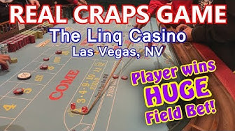 HUGE FIELD BET WIN! - Live Craps Game #25 - The Linq, Las Vegas, NV - Inside the Casino