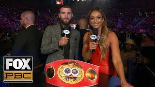 Caleb Plant talks with Kate Abdo after his 3rd round TKO of Mike Lee | PBC ON FOX