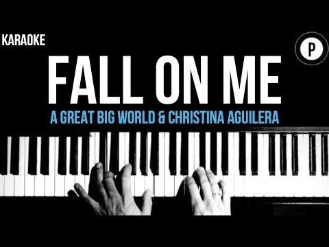A Great Big World - Fall On Me - Christina Aguilera Karaoke SLOWER Acoustic Piano Instrumental Cover