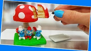 Mini amazing SMURFS cake / real cake / Jenny's mini cooking / mini food / 食べれるミニチュア