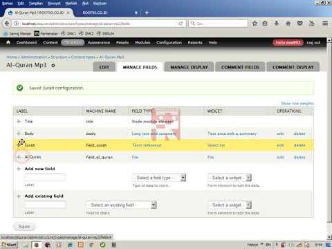 Drupal Al-Quran Mp3 Player -3- Menyiapkan Content Type