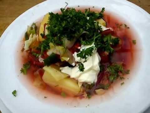 Ukrainsk rødbedebladsuppe