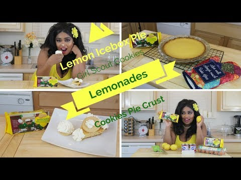 Lemon Icebox Pie  with Girl Scout Lemonades Cookie pie Crust