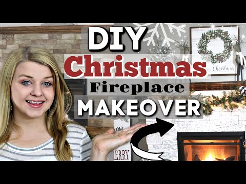 DIY Farmhouse Christmas Fireplace MAKEOVER   Christmas Decorate With Me   Krafts by Katelyn