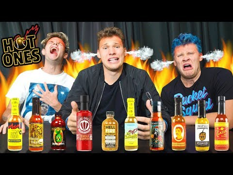 How SPICY Are Hot Ones Spicy Wings?! - Trying all Hot Ones Sauces