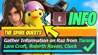 Gather Information on Raz from TARANA, Lara Croft, Rebirth Raven, CLUCK, or Cobb LOCATIONS- Fortnite