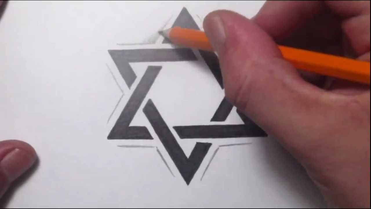 How To Draw a Star of David Tattoo Design - YouTube
