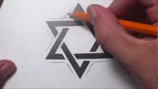 How To Draw a Star of David Tattoo Design(How to draw a simple Star of David tattoo design by Jonathan S Harris. In this video I should how to basically construct the star of David symbol by drawing out a ..., 2012-07-30T17:22:02.000Z)