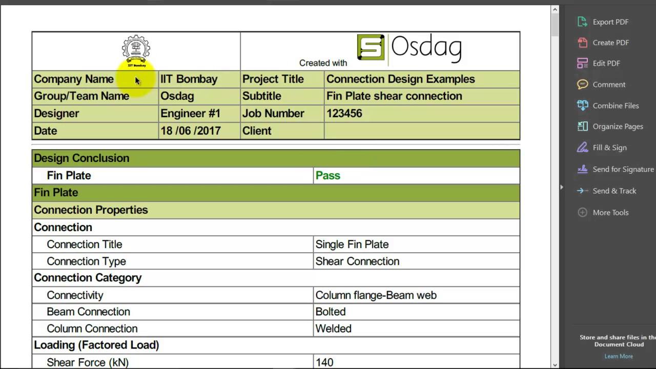 Video06 Osdag design reports