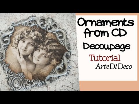 DIY Simple Decoupage: Ornament from CD ...Διακοσμητικό από CD...Adorno de CD ...ArteDiDeco   [CC]