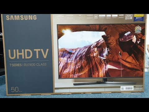 "Samsung 2019 RU7400 Unboxing + Setup With Retail DEMO, 50"" Series 7 4K"