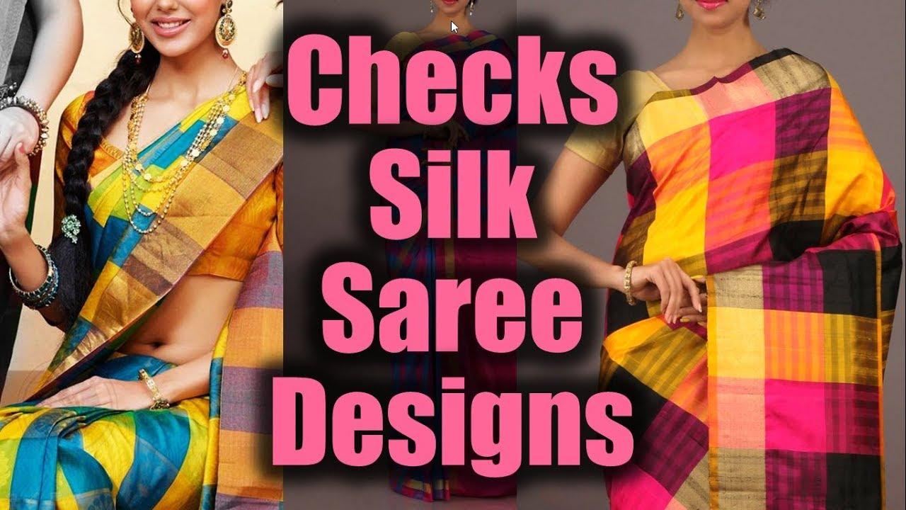 b75789ae51e1fe Checkerd Design Pure Silk Sarees | Checked Model Sarees | Checked Design  Sarees | Checks Saree Model