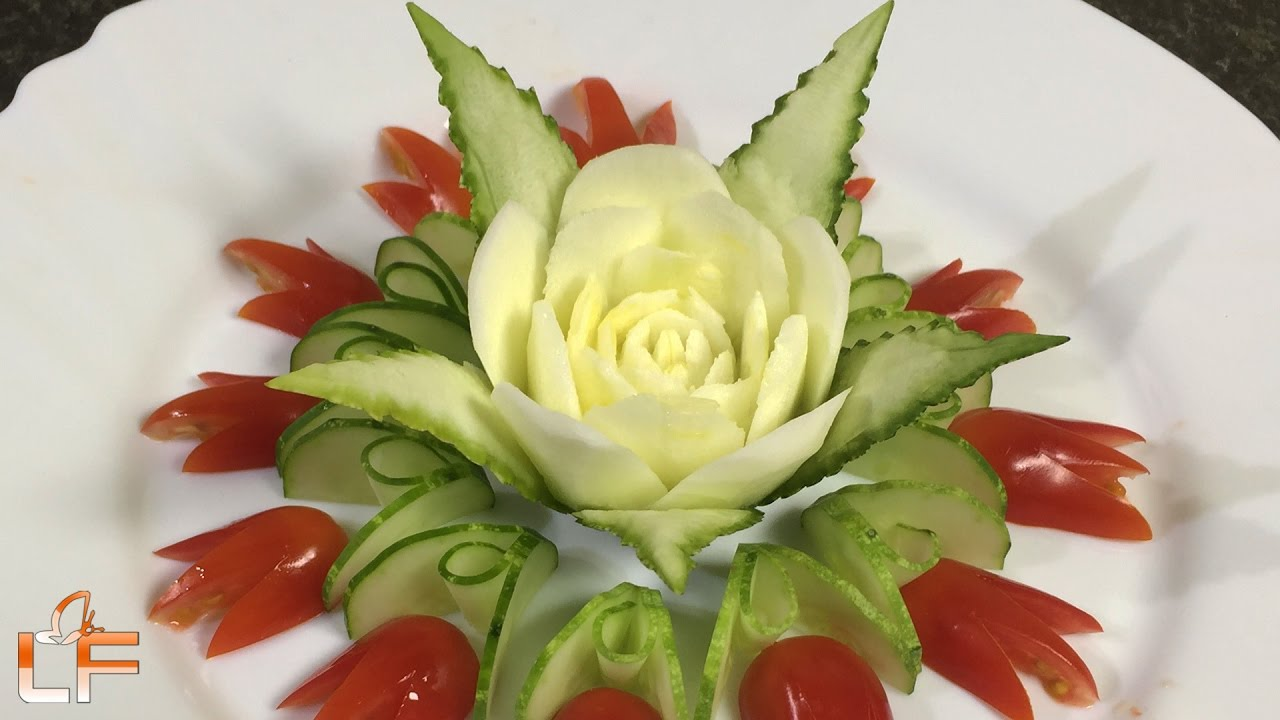 Vegetable Carving With Tomato Art In Zucchini Flower...