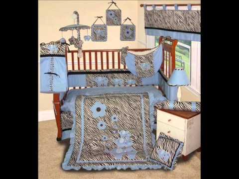 Custom Baby Boy Boutique - Blue Zebra 15 Pc Baby Bedding Nursery Crib Set; Boy Crib Set