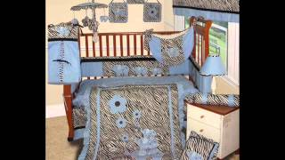 Custom Baby Boy Boutique - Blue Zebra 15 Pc Baby Bedding Nursery Crib Set; Boy Crib Set