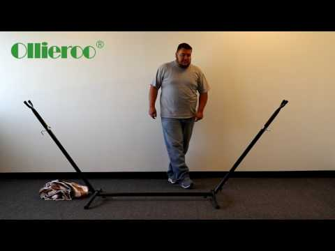 Ollieroo Hammock with Steel Stand and Carrying Case 450lb Capacity Coffee Stripe (How to Assemble)
