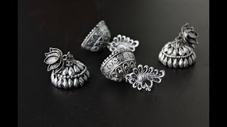 Oxidized Silver Jhumki /Jhumka  Earrings out of Plastic base/Tutorial