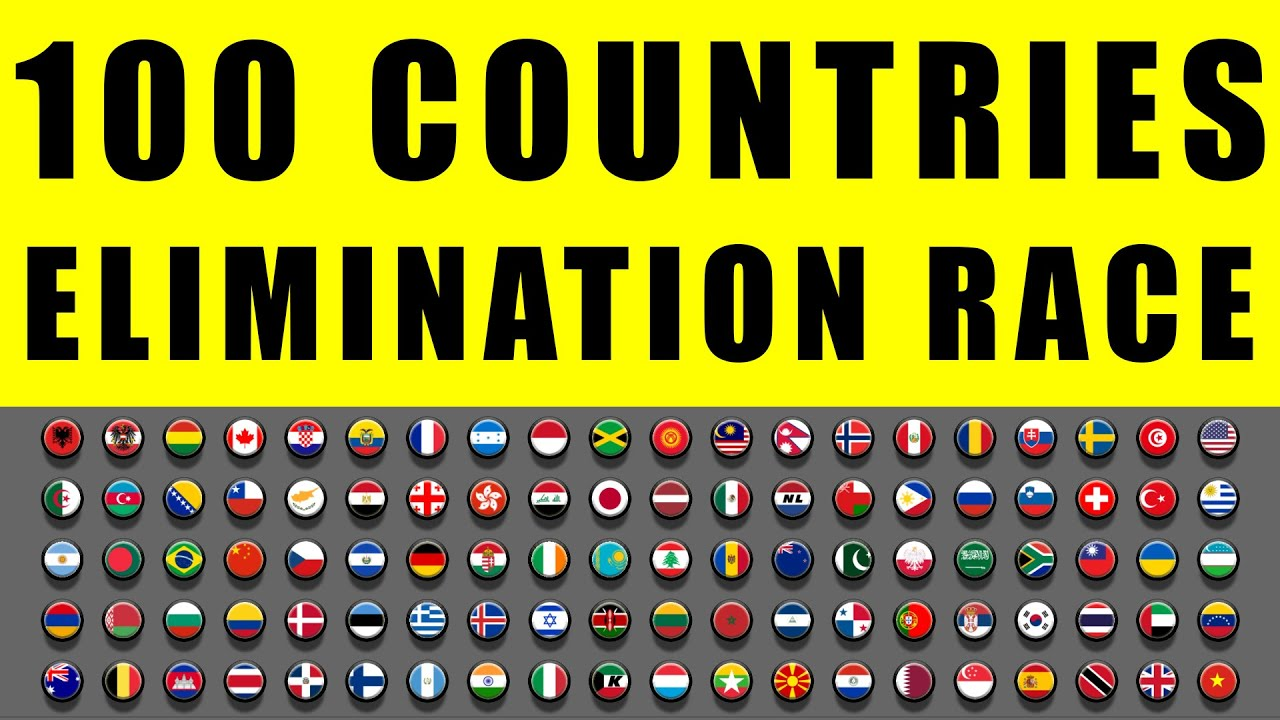 100 Countries Elimination Marble Race in Algodoo \ Marble Race King