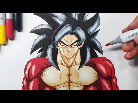 How To Draw Goku Super Saiyan 4 - Step By Step Tutorial