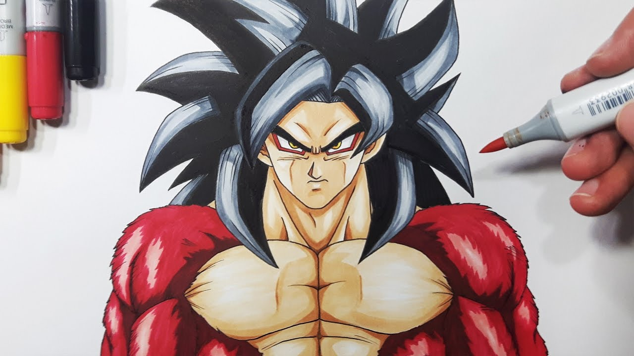 How To Draw Goku Super Saiyan 4  Step By Step Tutorial