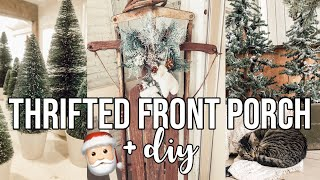 THRIFTED CHRISTMAS FRONT PORCH + DIY 🎅🏻