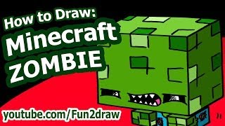 How to Draw a Minecraft Character - Minecraft Zombie - Fun2draw easy drawing