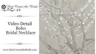 Pearl and Crystal Beaded Bridal Necklace by Hair Comes the Bride ~ Boho