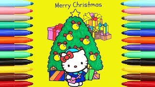 My first Painting video 🤩Hello Kitty Christmas Page