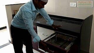 Brown & Half White High Gloss Finish for Ramya Modular Kitchen,
