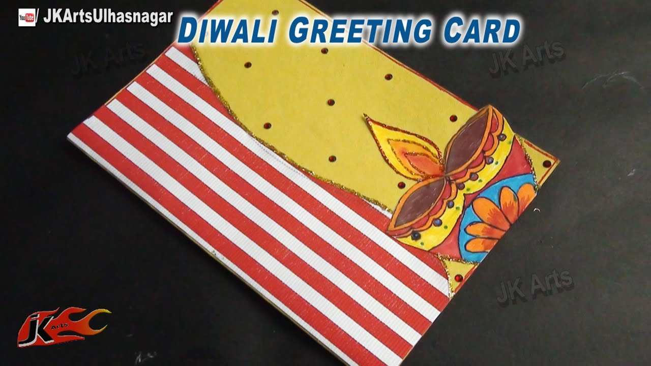 Art And Craft Ideas For Making Greeting Cards Part - 48: DIY Diwali Greeting Card | How To Make | School Project For Kids | JK Arts  701 - YouTube